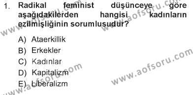 Sosyoloji Bölümü 5. Yarıyıl Toplumsal Cinsiyet Sosyolojisi Dersi 2013 Yılı Güz Dönemi Tek Ders Sınavı 1. Soru