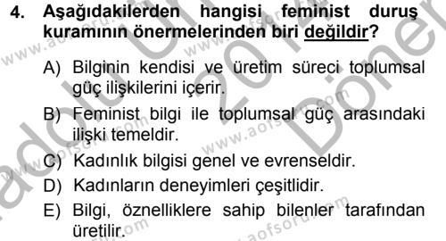 Sosyoloji Bölümü 5. Yarıyıl Toplumsal Cinsiyet Sosyolojisi Dersi 2015 Yılı Güz Dönemi Dönem Sonu Sınavı 4. Soru