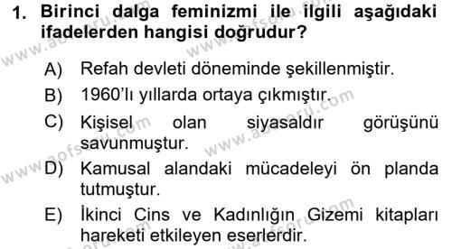 Toplumsal Cinsiyet Sosyolojisi Dersi 2015 - 2016 Yılı Dönem Sonu Sınavı 1. Soru