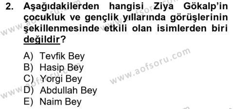 Türk Sosyologları Dersi 2012 - 2013 Yılı Ara Sınavı 2. Soru
