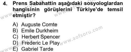 Sosyoloji Bölümü 8. Yarıyıl Türk Sosyologları Dersi 2013 Yılı Bahar Dönemi Ara Sınavı 4. Soru
