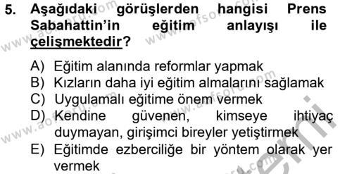 Sosyoloji Bölümü 8. Yarıyıl Türk Sosyologları Dersi 2013 Yılı Bahar Dönemi Ara Sınavı 5. Soru