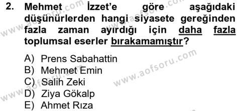 Sosyoloji Bölümü 8. Yarıyıl Türk Sosyologları Dersi 2013 Yılı Bahar Dönemi Dönem Sonu Sınavı 2. Soru