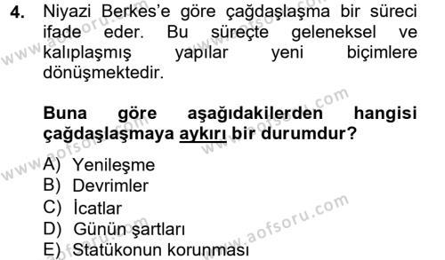 Sosyoloji Bölümü 8. Yarıyıl Türk Sosyologları Dersi 2013 Yılı Bahar Dönemi Dönem Sonu Sınavı 4. Soru