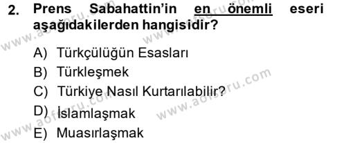 Sosyoloji Bölümü 8. Yarıyıl Türk Sosyologları Dersi 2014 Yılı Bahar Dönemi Ara Sınavı 2. Soru
