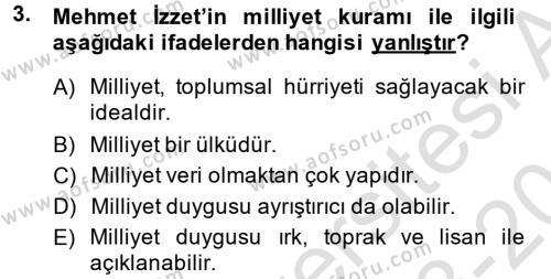 Türk Sosyologları Dersi 2013 - 2014 Yılı Tek Ders Sınav Soruları 3. Soru