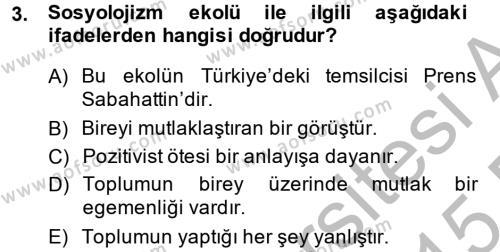 Sosyoloji Bölümü 8. Yarıyıl Türk Sosyologları Dersi 2015 Yılı Bahar Dönemi Ara Sınavı 3. Soru