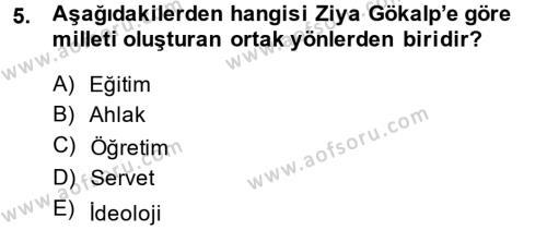 Sosyoloji Bölümü 8. Yarıyıl Türk Sosyologları Dersi 2015 Yılı Bahar Dönemi Ara Sınavı 5. Soru