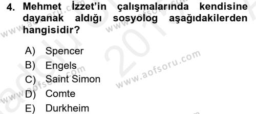 Sosyoloji Bölümü 8. Yarıyıl Türk Sosyologları Dersi 2016 Yılı Bahar Dönemi Ara Sınavı 4. Soru