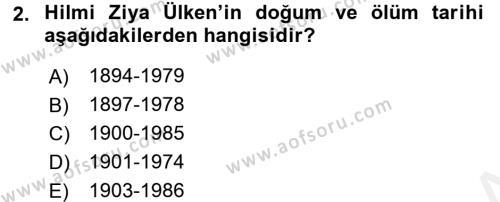 Türk Sosyologları Dersi 2015 - 2016 Yılı Tek Ders Sınav Soruları 2. Soru