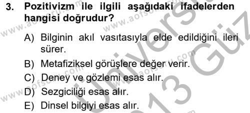 Türkiye´de Sosyoloji Dersi 2012 - 2013 Yılı Ara Sınavı 3. Soru