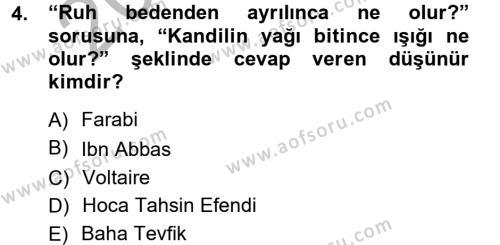 Türkiye´de Sosyoloji Dersi 2012 - 2013 Yılı Ara Sınavı 4. Soru