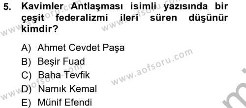 Sosyoloji Bölümü 7. Yarıyıl Türkiye' de Sosyoloji Dersi 2013 Yılı Güz Dönemi Ara Sınavı 5. Soru