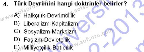 Sosyoloji Bölümü 7. Yarıyıl Türkiye' de Sosyoloji Dersi 2013 Yılı Güz Dönemi Dönem Sonu Sınavı 4. Soru