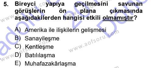 Sosyoloji Bölümü 7. Yarıyıl Türkiye' de Sosyoloji Dersi 2013 Yılı Güz Dönemi Dönem Sonu Sınavı 5. Soru