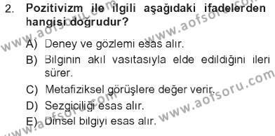Sosyoloji Bölümü 7. Yarıyıl Türkiye' de Sosyoloji Dersi 2013 Yılı Güz Dönemi Tek Ders Sınavı 2. Soru