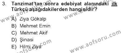 Sosyoloji Bölümü 7. Yarıyıl Türkiye' de Sosyoloji Dersi 2013 Yılı Güz Dönemi Tek Ders Sınavı 3. Soru
