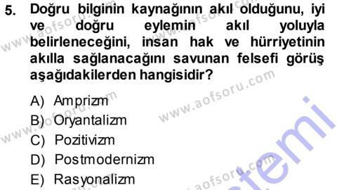 Sosyoloji Bölümü 7. Yarıyıl Türkiye' de Sosyoloji Dersi 2014 Yılı Güz Dönemi Ara Sınavı 5. Soru