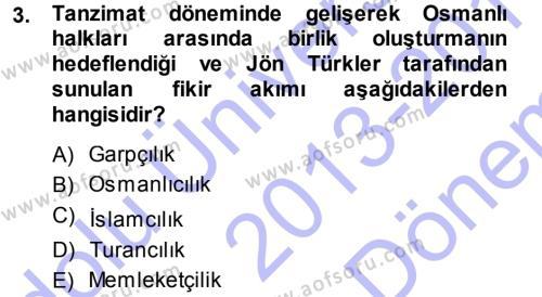 Türkiye´de Sosyoloji Dersi 2013 - 2014 Yılı (Final) Dönem Sonu Sınav Soruları 3. Soru