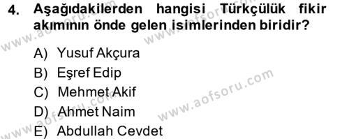 Sosyoloji Bölümü 7. Yarıyıl Türkiye' de Sosyoloji Dersi 2014 Yılı Güz Dönemi Dönem Sonu Sınavı 4. Soru