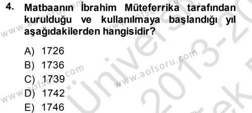 Sosyoloji Bölümü 7. Yarıyıl Türkiye' de Sosyoloji Dersi 2014 Yılı Güz Dönemi Tek Ders Sınavı 4. Soru