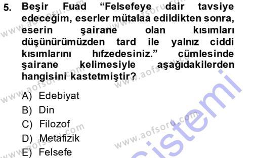Sosyoloji Bölümü 7. Yarıyıl Türkiye' de Sosyoloji Dersi 2015 Yılı Güz Dönemi Ara Sınavı 5. Soru