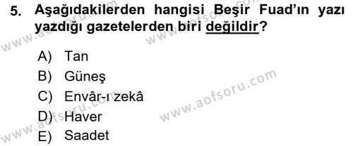 Sosyoloji Bölümü 7. Yarıyıl Türkiye' de Sosyoloji Dersi 2016 Yılı Güz Dönemi Ara Sınavı 5. Soru
