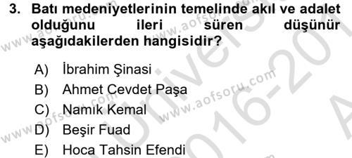 Türkiye´de Sosyoloji Dersi 2016 - 2017 Yılı (Vize) Ara Sınav Soruları 3. Soru