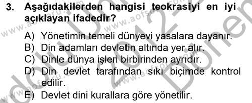 Sosyoloji Bölümü 8. Yarıyıl Din ve Toplum Dersi 2013 Yılı Bahar Dönemi Dönem Sonu Sınavı 3. Soru