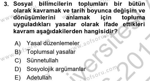 Din ve Toplum Dersi 2016 - 2017 Yılı 3 Ders Sınav Soruları 3. Soru