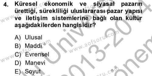 Sosyoloji Bölümü 8. Yarıyıl Medya Sosyolojisi Dersi 2014 Yılı Bahar Dönemi Dönem Sonu Sınavı 4. Soru