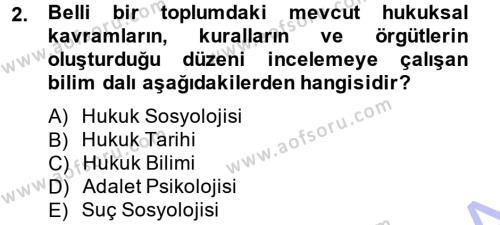 Sosyoloji Bölümü 7. Yarıyıl Hukuk Sosyolojisi Dersi 2014 Yılı Güz Dönemi Dönem Sonu Sınavı 2. Soru