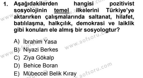 Türkiye´nin Toplumsal Yapısı Dersi 2012 - 2013 Yılı Ara Sınavı 1. Soru