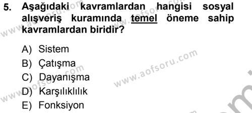 Sosyal Hizmet Bölümü 3. Yarıyıl Türkiye' nin Toplumsal Yapısı Dersi 2013 Yılı Güz Dönemi Ara Sınavı 5. Soru