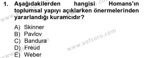 Türkiye´nin Toplumsal Yapısı Dersi 2012 - 2013 Yılı Dönem Sonu Sınavı 1. Soru