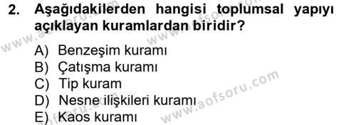 Türkiye´nin Toplumsal Yapısı Dersi 2012 - 2013 Yılı Dönem Sonu Sınavı 2. Soru
