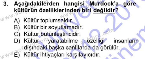 Türkiye´nin Toplumsal Yapısı Dersi 2012 - 2013 Yılı Dönem Sonu Sınavı 3. Soru