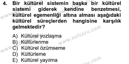 Türkiye´nin Toplumsal Yapısı Dersi 2012 - 2013 Yılı Dönem Sonu Sınavı 4. Soru