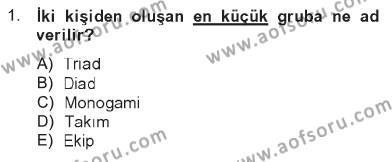 Türkiye´nin Toplumsal Yapısı Dersi 2012 - 2013 Yılı Tek Ders Sınavı 1. Soru