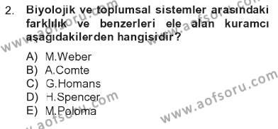 Türkiye´nin Toplumsal Yapısı Dersi 2012 - 2013 Yılı Tek Ders Sınavı 2. Soru