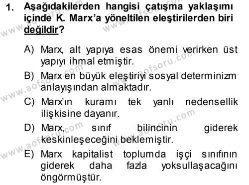Türkiye´nin Toplumsal Yapısı Dersi 2013 - 2014 Yılı Ara Sınavı 1. Soru