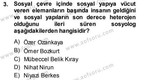 Sosyal Hizmet Bölümü 3. Yarıyıl Türkiye' nin Toplumsal Yapısı Dersi 2014 Yılı Güz Dönemi Ara Sınavı 3. Soru