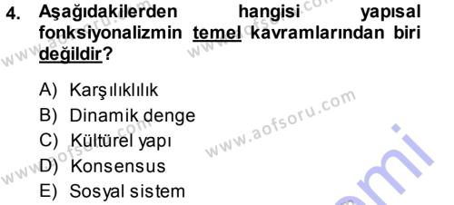 Türkiye´nin Toplumsal Yapısı Dersi 2013 - 2014 Yılı Ara Sınavı 4. Soru