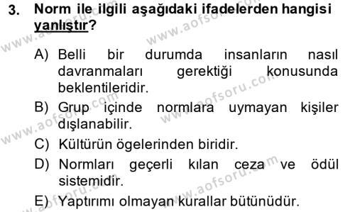 Türkiye´nin Toplumsal Yapısı Dersi 2013 - 2014 Yılı Dönem Sonu Sınavı 3. Soru