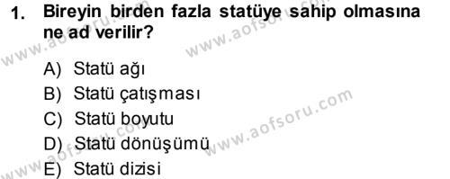 Türkiye´nin Toplumsal Yapısı Dersi 2013 - 2014 Yılı Tek Ders Sınavı 1. Soru