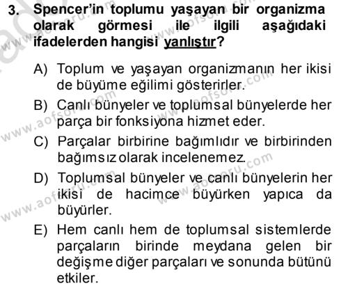 Türkiye´nin Toplumsal Yapısı Dersi 2013 - 2014 Yılı Tek Ders Sınavı 3. Soru