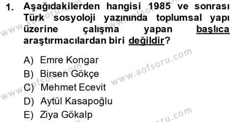 Sosyoloji Bölümü 7. Yarıyıl Türkiye' nin Toplumsal Yapısı Dersi 2015 Yılı Güz Dönemi Ara Sınavı 1. Soru