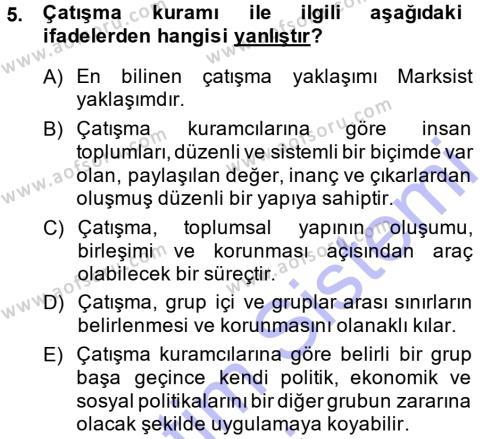 Sosyoloji Bölümü 7. Yarıyıl Türkiye' nin Toplumsal Yapısı Dersi 2015 Yılı Güz Dönemi Ara Sınavı 5. Soru