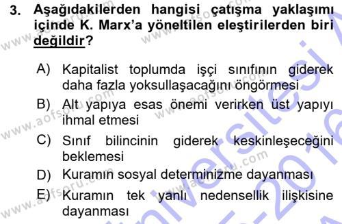 Sosyoloji Bölümü 7. Yarıyıl Türkiye' nin Toplumsal Yapısı Dersi 2016 Yılı Güz Dönemi Ara Sınavı 3. Soru