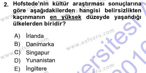 Türkiye´nin Toplumsal Yapısı Dersi 2015 - 2016 Yılı Dönem Sonu Sınavı 2. Soru